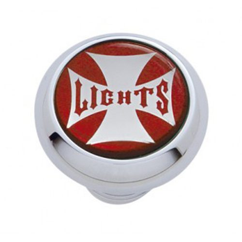 "(CARD) CHROME DELUXE W/ GLOSSY ""LIGHT"" MALTESE CROSS STICKER - RED"
