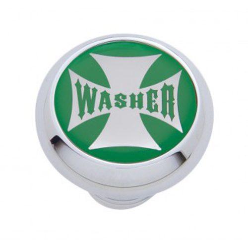 "(CARD) CHROME DELUXE W/ GLOSSY ""WASHER"" MALTESE CROSS STICKER - GREEN"