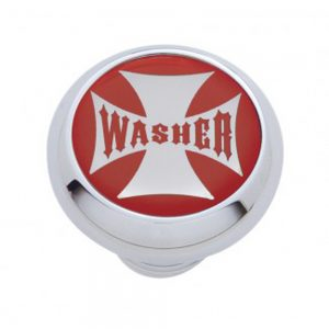 "(CARD) CHROME DELUXE W/ GLOSSY ""WASHER"" MALTESE CROSS STICKER - RED"