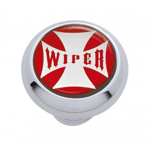 "(CARD) CHROME DELUXE W/ GLOSSY ""WIPER"" MALTESE CROSS STICKER - RED"