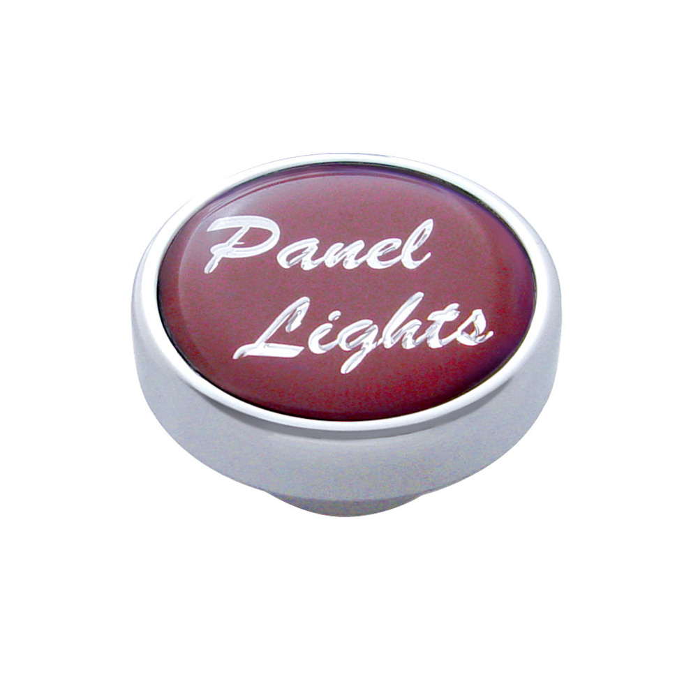 "(CARD) CHROME DASH KNOB W/ GLOSSY ""PANEL LIGHTS"" STICKER - RED"