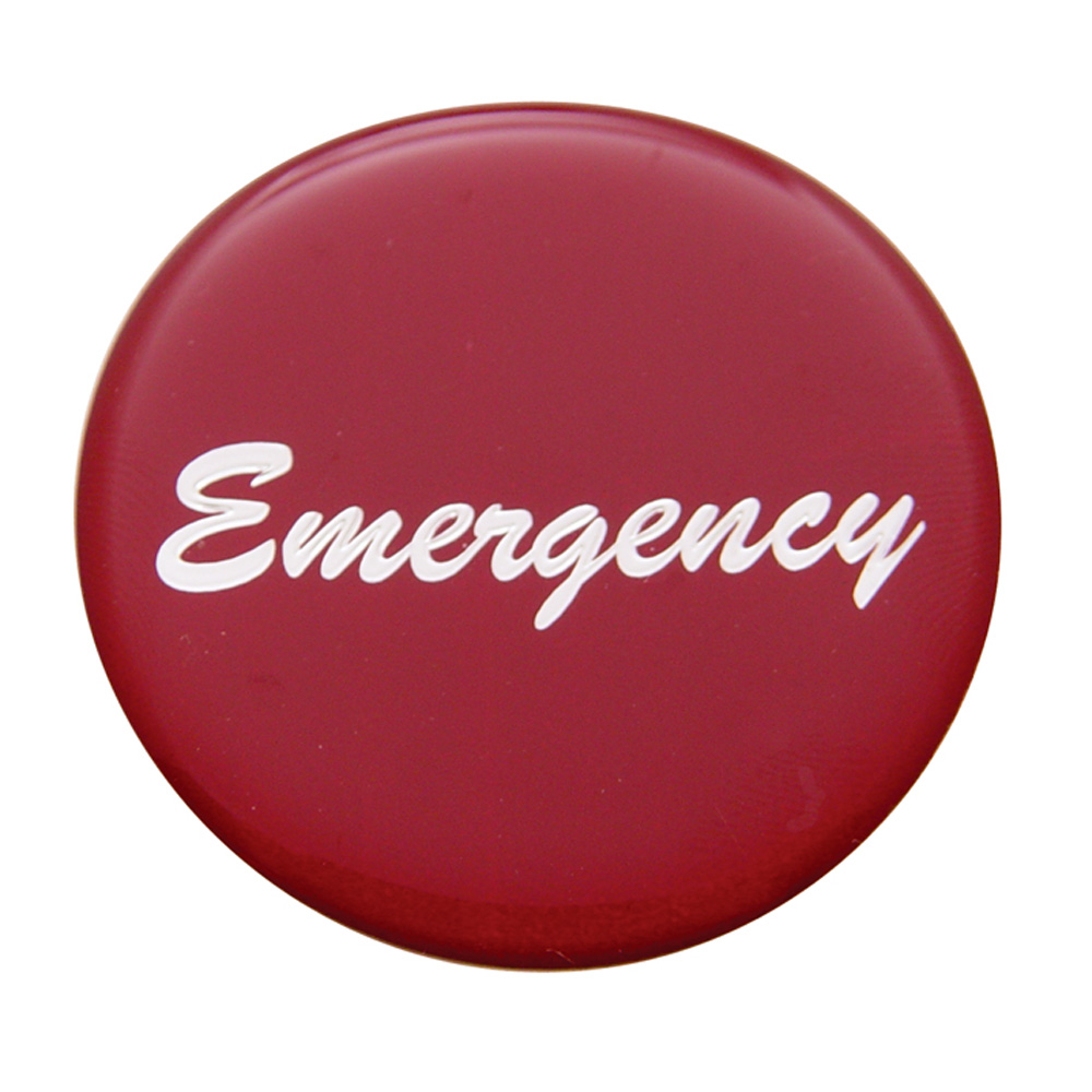 "(BULK) GLOSSY ""EMERGENCY"" STICKER - RED"