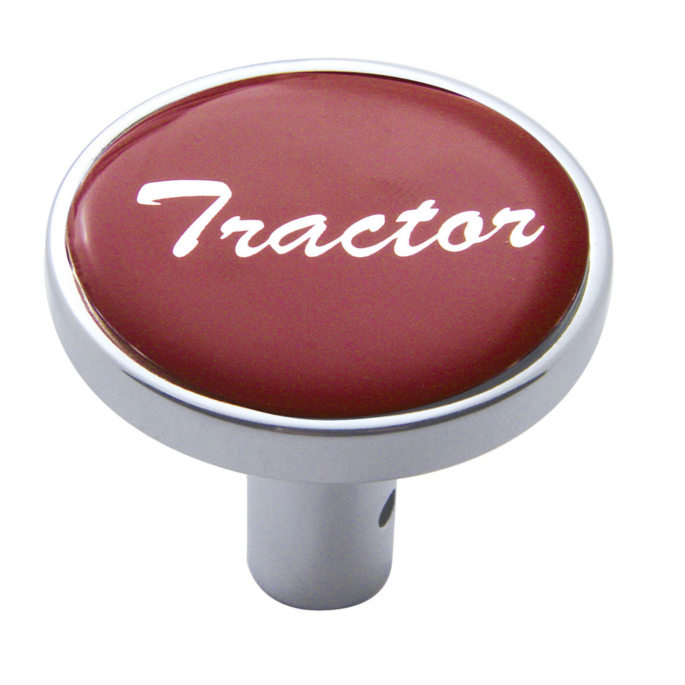 """(CARD) CHROME LONG PIN MOUNT AIR VALVE KNOB W/ GLOSSY """"TRACTOR"""" STICKER - RED"""
