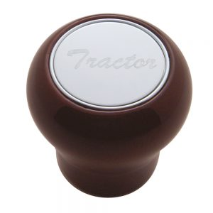 """(CARD) WOOD AIR VALVE KNOB W/ STAINLESS STEEL """"TRACTOR"""" PLAQUE"""