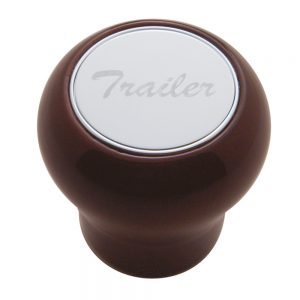 "(CARD) WOOD AIR VALVE KNOB W/ STAINLESS STEEL ""TRAILER"" PLAQUE"