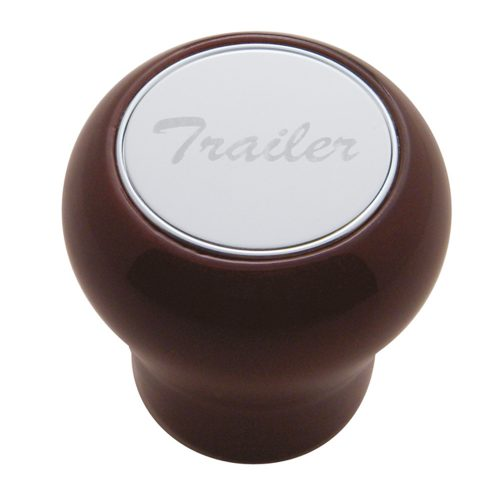 """(CARD) WOOD AIR VALVE KNOB W/ STAINLESS STEEL """"TRAILER"""" PLAQUE"""