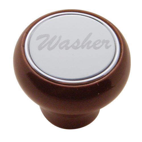 "(CARD) WOOD DELUXE DASH KNOB W/ STAINLESS STEEL ""WASHER"" PLAQUE"
