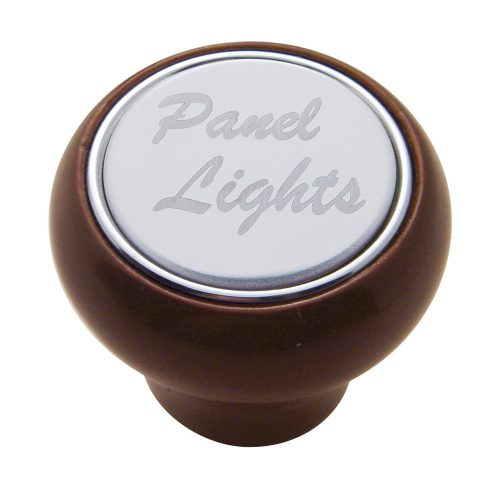 "(CARD) WOOD DELUXE DASH KNOB W/ STAINLESS STEEL ""PANEL LIGHTS"" PLAQUE"