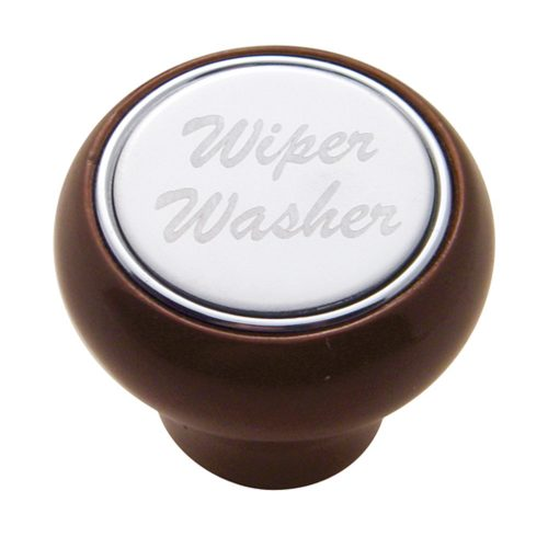 "(CARD) WOOD DELUXE DASH KNOB W/ STAINLESS STEEL ""WIPER/WASHER"" PLAQUE"