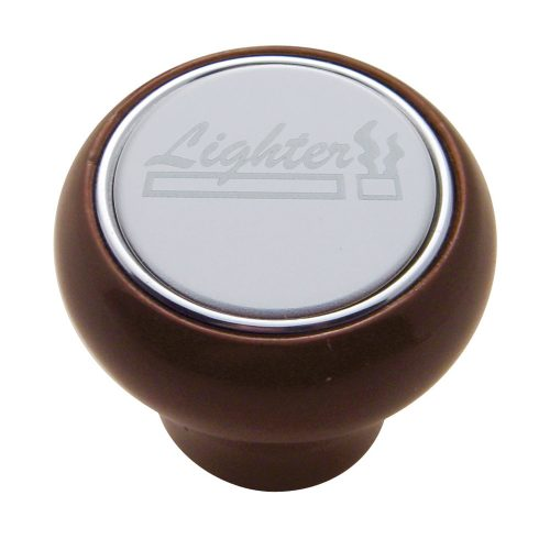 "(CARD) WOOD DELUXE DASH KNOB W/ STAINLESS STEEL ""LIGHTER"" PLAQUE"