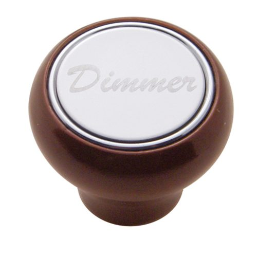 "(CARD) WOOD DELUXE DASH KNOB W/ STAINLESS STEEL ""DIMMER"" PLAQUE"