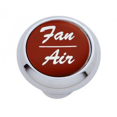 "(CARD) CHROME DELUXE DASH KNOB W/ GLOSSY ""FAN/AIR"" STICKER - RED"
