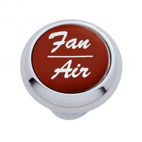 """(CARD) CHROME DELUXE DASH KNOB W/ GLOSSY """"FAN/AIR"""" STICKER - RED"""
