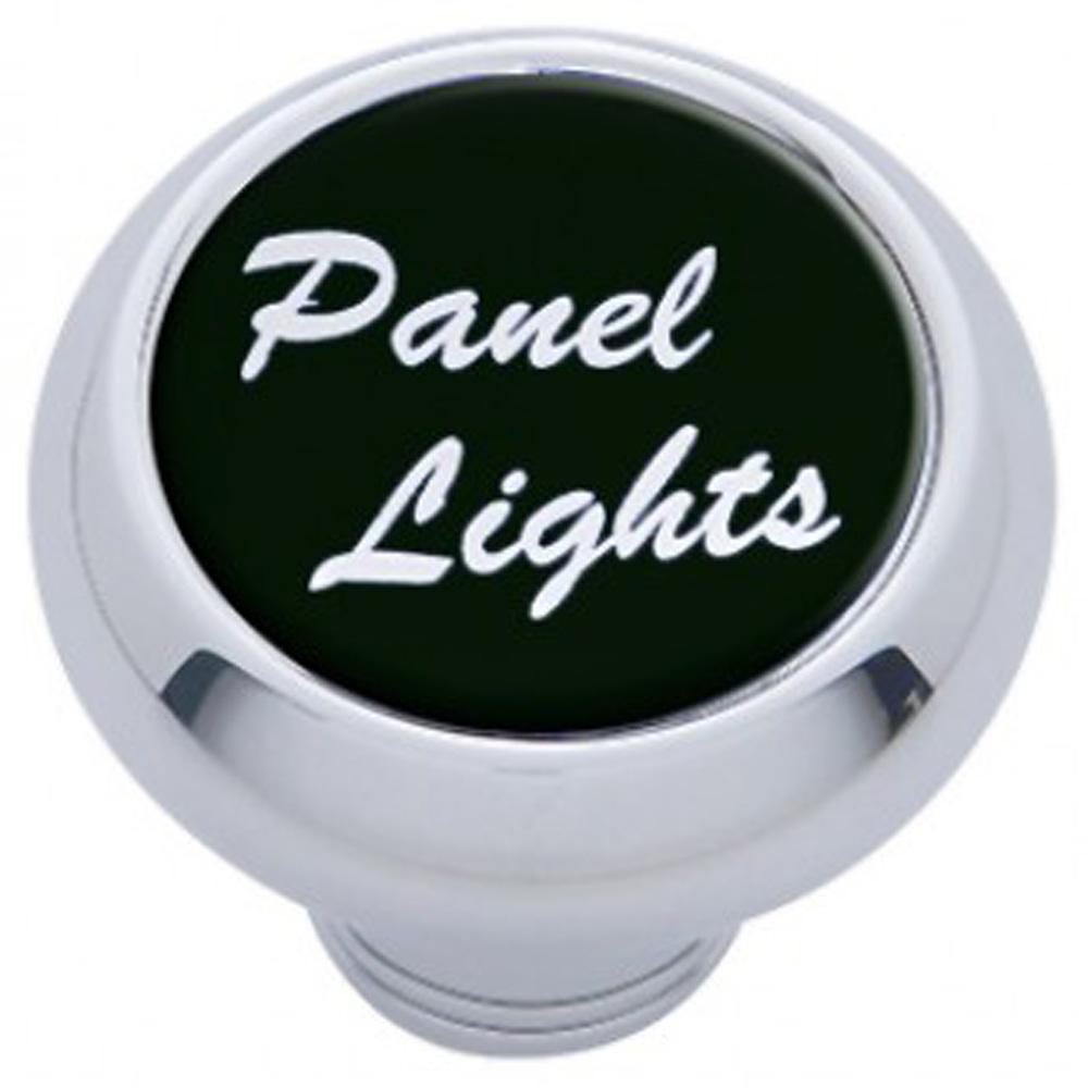 "(CARD) CHROME DELUXE DASH KNOB W/ GLOSSY ""PANEL LIGHTS"" STICKER - BLACK"