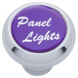 "(CARD) CHROME DELUXE DASH KNOB W/ GLOSSY ""PANEL LIGHTS"" STICKER - PURPLE"