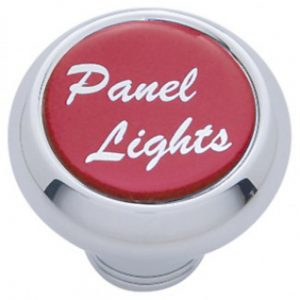 "(CARD) CHROME DELUXE DASH KNOB W/ GLOSSY ""PANEL LIGHTS"" STICKER - RED"