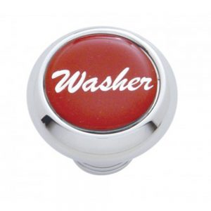"(CARD) CHROME DELUXE DASH KNOB W/ GLOSSY ""WASHER"" STICKER - RED"