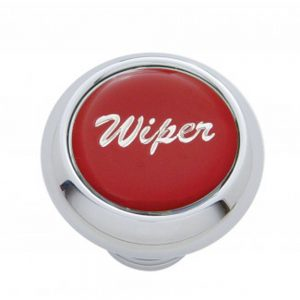 "(CARD) CHROME DELUXE DASH KNOB W/ GLOSSY ""WIPER"" STICKER - RED"