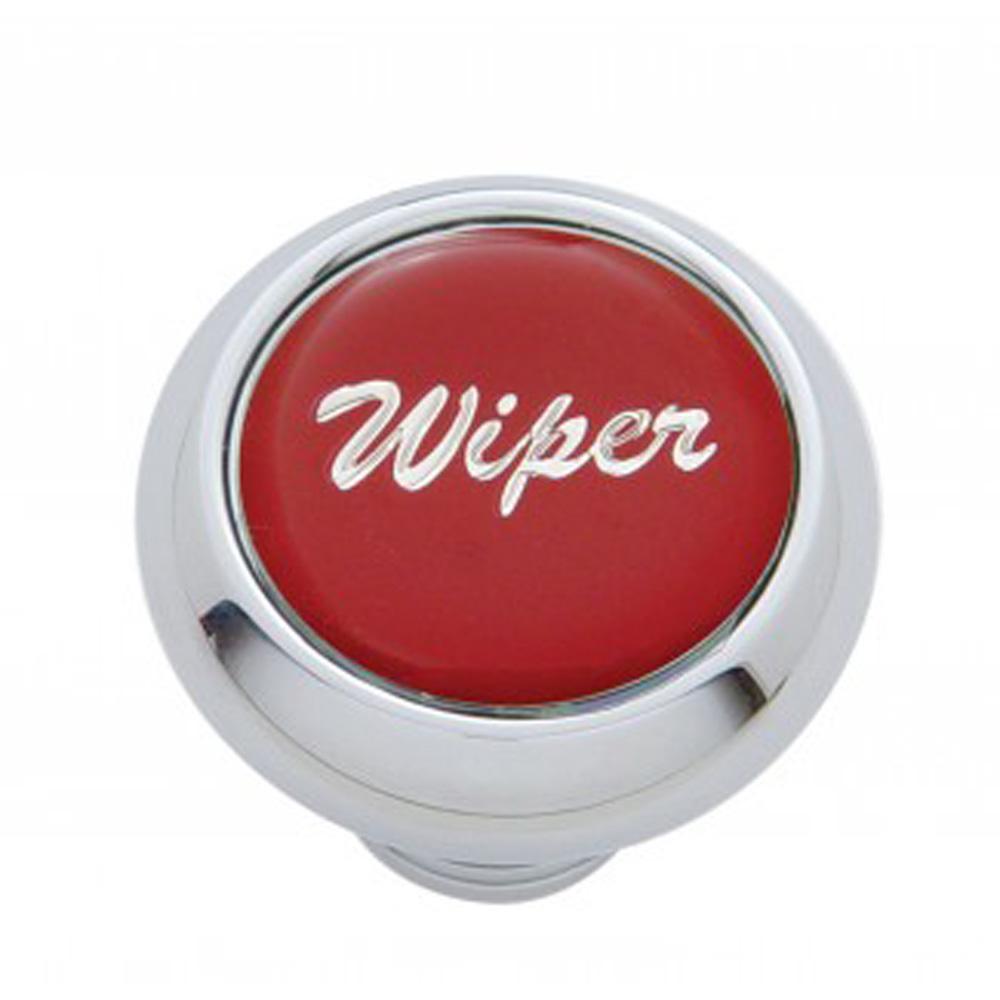 """(CARD) CHROME DELUXE DASH KNOB W/ GLOSSY """"WIPER"""" STICKER - RED"""