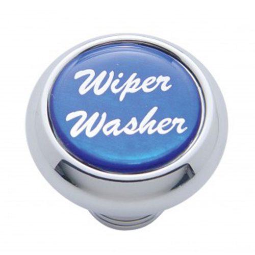 "(CARD) CHROME DELUXE DASH KNOB W/ GLOSSY ""WIPER/WASHER"" STICKER - BLUE"