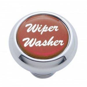 "(CARD) CHROME DELUXE DASH KNOB W/ GLOSSY ""WIPER/WASHER"" STICKER - RED"