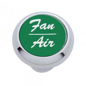 "(CARD) CHROME DELUXE DASH KNOB W/ ALUMINUM ""FAN/AIR"" STICKER - GREEN"