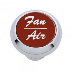 "(CARD) CHROME DELUXE DASH KNOB W/ ALUMINUM ""FAN/AIR"" STICKER - RED"