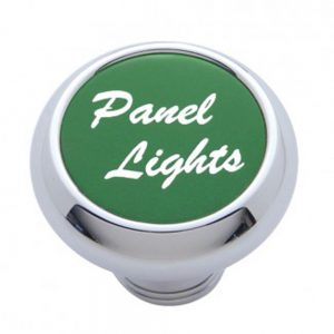 "(CARD) CHROME DELUXE DASH KNOB W/ ALUMINUM ""PANEL LIGHTS"" STICKER - GREEN"