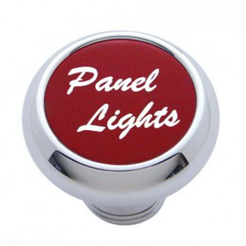 "(CARD) CHROME DELUXE DASH KNOB W/ ALUMINUM ""PANEL LIGHTS"" STICKER - RED"