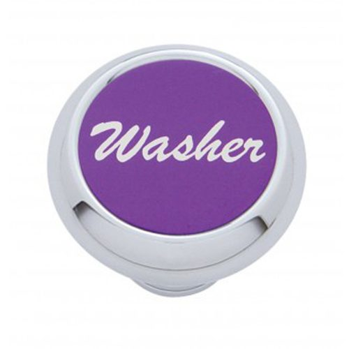 "(CARD) CHROME DELUXE DASH KNOB W/ ALUMINUM ""WASHER"" STICKER - PURPLE"