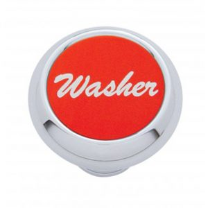 "(CARD) CHROME DELUXE DASH KNOB W/ ALUMINUM ""WASHER"" STICKER - RED"