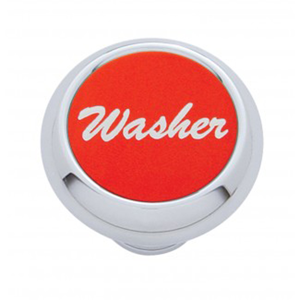 "(CARD) CHROME DELUXE DASH KNOB W/ ALUMINUM ""WASHER"" STICKER - RED"