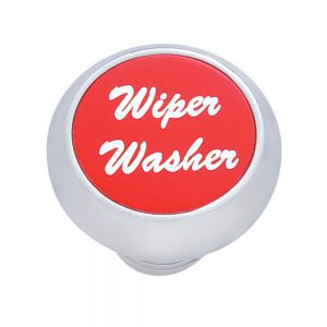 "(CARD) CHROME DELUXE DASH KNOB W/ ALUMINUM ""WIPER/WASHER"" STICKER - RED"