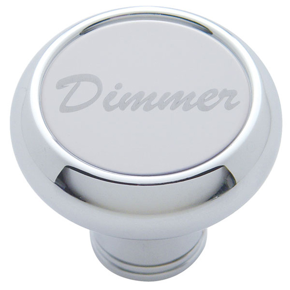 """(CARD) CHROME DELUXE DASH KNOB W/ STAINLESS STEEL """"DIMMER"""" PLAQUE"""