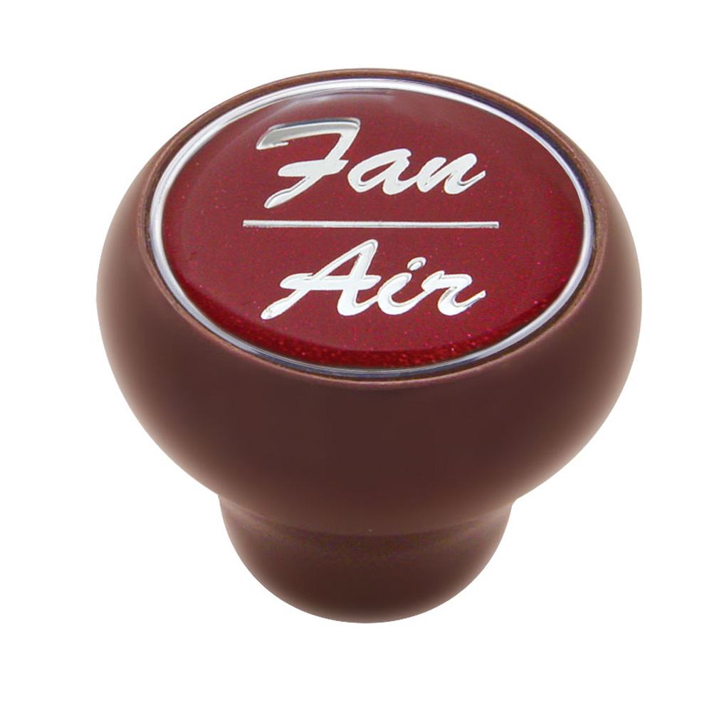 """(CARD) WOOD DELUXE DASH KNOB W/ GLOSSY """"FAN/AIR"""" STICKER - RED"""