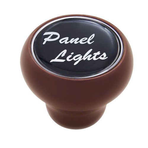"(CARD) WOOD DELUXE DASH KNOB W/ GLOSSY ""PANEL LIGHTS"" STICKER - BLACK"