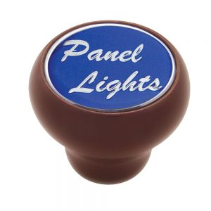 """(CARD) WOOD DELUXE DASH KNOB W/ GLOSSY """"PANEL LIGHTS"""" STICKER - BLUE"""