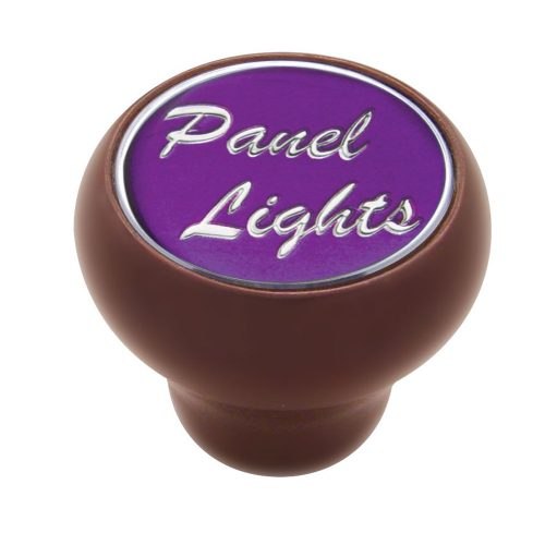"(CARD) WOOD DELUXE DASH KNOB W/ GLOSSY ""PANEL LIGHTS"" STICKER - PURPLE"