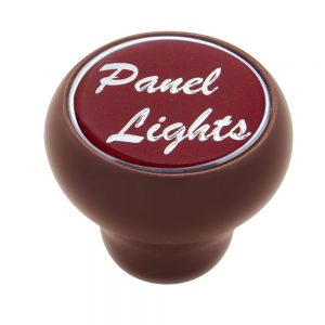 """(CARD) WOOD DELUXE DASH KNOB W/ GLOSSY """"PANEL LIGHTS"""" STICKER - RED"""