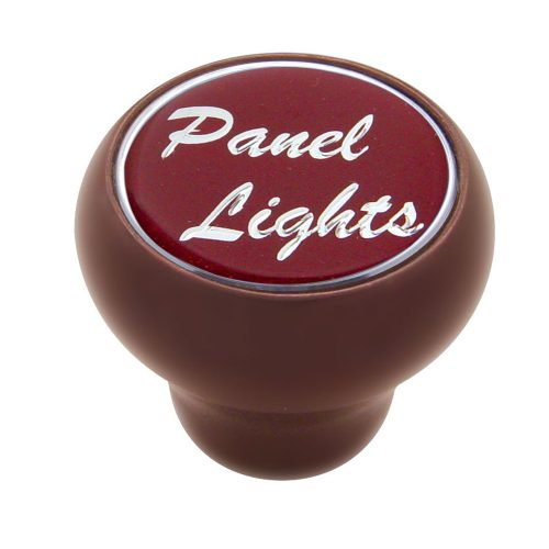 "(CARD) WOOD DELUXE DASH KNOB W/ GLOSSY ""PANEL LIGHTS"" STICKER - RED"