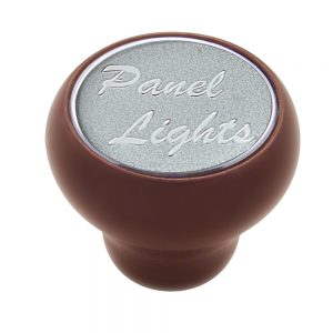 """(CARD) WOOD DELUXE DASH KNOB W/ GLOSSY """"PANEL LIGHTS"""" STICKER - SILVER"""