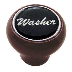 "(CARD) WOOD DELUXE DASH KNOB W/ GLOSSY ""WASHER"" STICKER - BLACK"