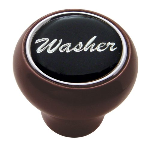 "(CARD) WOOD DELUXE DASH KNOB W/ GLOSSY ""WASHER"" STICKER - BLACK"