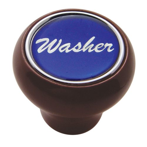 "(CARD) WOOD DELUXE DASH KNOB W/ GLOSSY ""WASHER"" STICKER - BLUE"