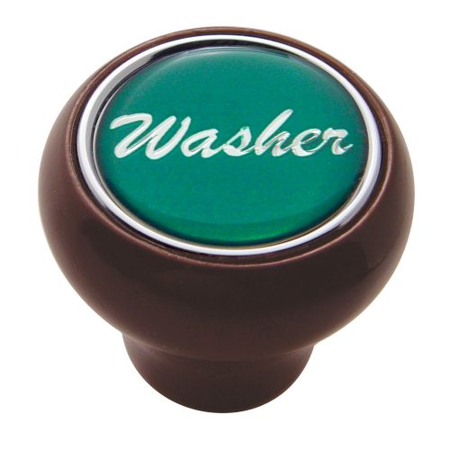 "(CARD) WOOD DELUXE DASH KNOB W/ GLOSSY ""WASHER"" STICKER - GREEN"