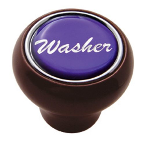 "(CARD) WOOD DELUXE DASH KNOB W/ GLOSSY ""WASHER"" STICKER - PURPLE"