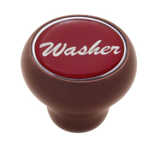 "(CARD) WOOD DELUXE DASH KNOB W/ GLOSSY ""WASHER"" STICKER - RED"