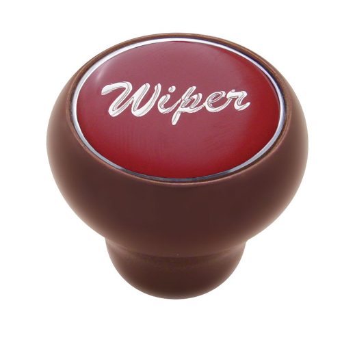 "(CARD) WOOD DELUXE DASH KNOB W/ GLOSSY ""WIPER"" STICKER - RED"