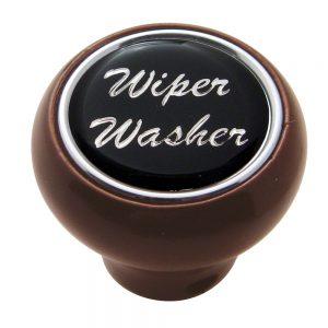 "(CARD) WOOD DELUXE DASH KNOB W/ GLOSSY ""WIPER/WASHER"" STICKER - BLACK"