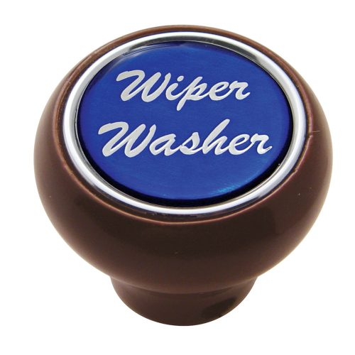 "(CARD) WOOD DELUXE DASH KNOB W/ GLOSSY ""WIPER/WASHER"" STICKER - BLUE"